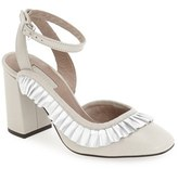 Topshop Women's 'Gosh' Square Toe Wraparound Frill Pump