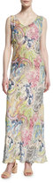Neiman Marcus Sleeveless Tropical-Print Maxi Dress, Multi Colors