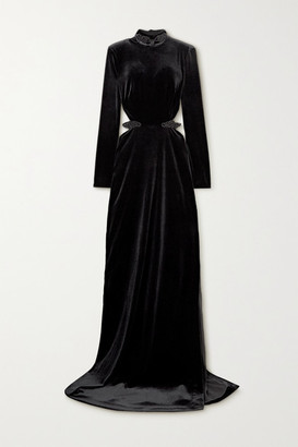 Dundas Cutout Embellished Velvet Gown - Black