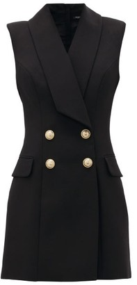 Balmain Double-breasted Wool Blazer Dress - Womens - Black