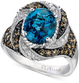 LeVian Le Vian Chocolatier® Blue Topaz (2-5/8 ct. t.w.) and Diamond (3/4 ct. t.w.) Statement Ring in 14k White Gold