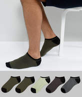 Asos Sneaker Socks With Contrast Heel And Toe 5 Pack