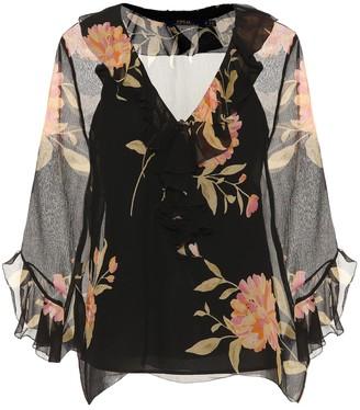 Polo Ralph Lauren Ruffled floral-printed silk blouse