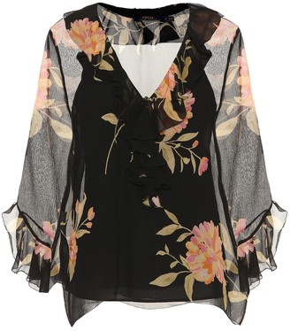 Polo Ralph Lauren Ruffled floral-printed silk blouse