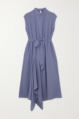 THE R COLLECTIVE Net Sustain Wen Pan Aldgate Belted Crepe Midi Dress - Light blue