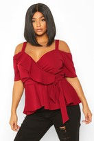 boohoo Plus Plunge Ruffle Cold Shoulder Peplum Top