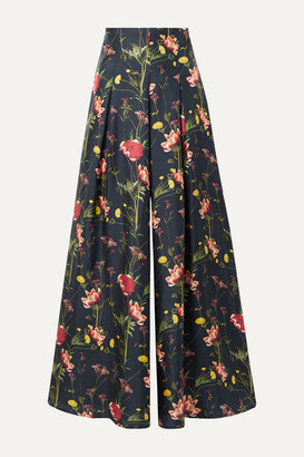 Mother of Pearl Floral-print Silk-satin Twill Wide-leg Pants - Midnight blue