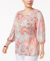 JM Collection Plus Size Printed Necklace Blouse, Created for Macy's