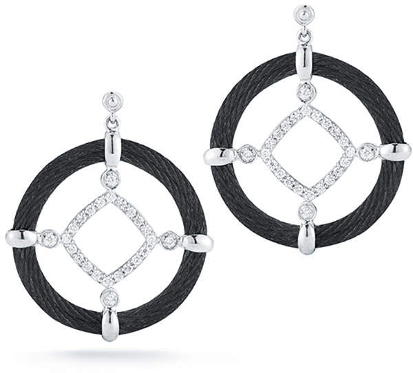 Alor 18k Diamond Cable Circle Drop Earrings