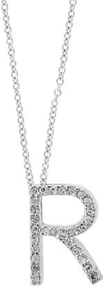Effy 14K White Gold & Diamond R Pendant Necklace