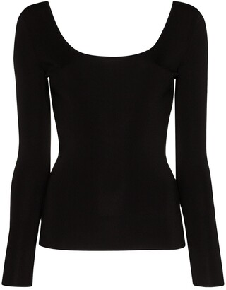 Gucci Scoop-Neck Long-Sleeve Top