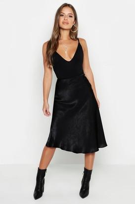boohoo Petite Satin Midi Skirt