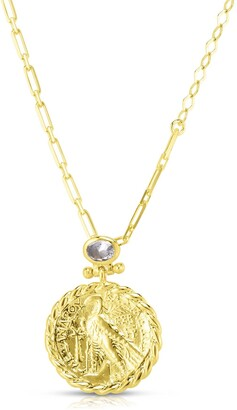 Sphera Milano 14K Yellow Gold Plated Sterling Silver CZ & Coin Pendant Necklace