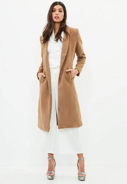 Missguided Brown Short Faux Fur Longline Coat