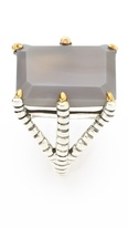 Elizabeth and James Bird Claw Ring with Grey Agate Stone