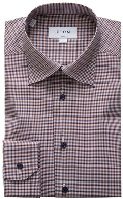 Eton Slim-Fit Plaid Dress Shirt