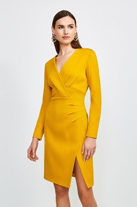 Karen Millen Italian Jersey Long Sleeve Tuck Detail Dress