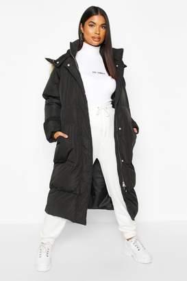 boohoo Panelled Faux Fur Hood Padded Coat