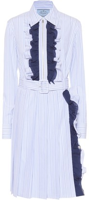 Prada Ruffle-trimmed striped cotton dress
