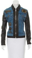 Roccobarocco Leather-Trimmed Denim Jacket