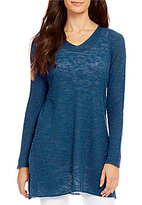 Eileen Fisher V-Neck Long Sleeve Ribbed Tunic