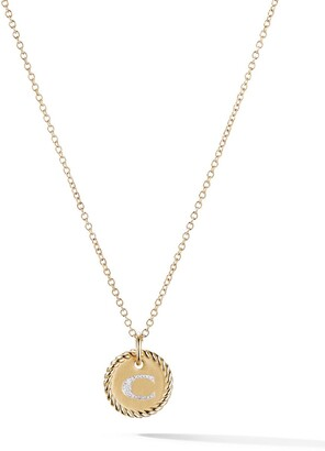 David Yurman 18kt yellow gold Cable Collectibles diamond C initial pendant necklace