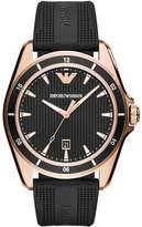 Emporio Armani AR11101 Matte Black Rubber Strap and Rose Gold Tone Mens Watch