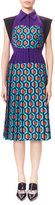 DELPOZO Pleated Combo-Print Shirtdress, Blue