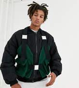Collusion COLLUSION borg harness detail vest in khaki