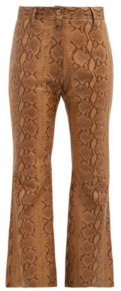 Nili Lotan Vianna Python-print Leather Trousers - Brown