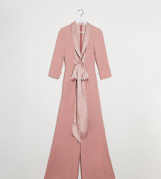 ASOS DESIGN Tall plunge tux jumpsuit with wide leg in blush