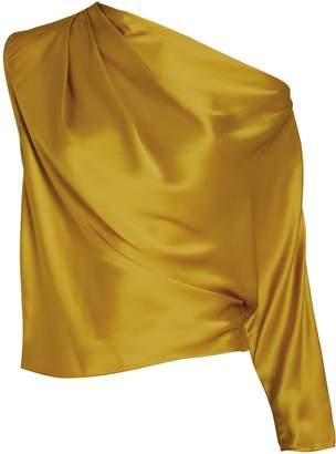 Mason by Michelle Mason Silk Charmeuse Draped One-Shoulder Top