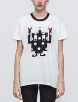 Mother of Pearl White/Navy Spot Robot Unisex T-shirt