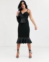 Asos Design DESIGN one shoulder pu scuba mix pep bodycon midi dress
