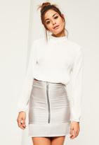 Missguided Grey Ripple Texture Zip Through Mini Skirt