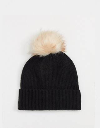 Pieces wool mix hat in black
