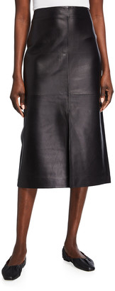 Co Paneled Leather Slit Pencil Skirt