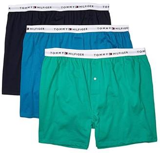 Tommy Hilfiger Cotton Classics 3-Pack Knit Boxer (Navy Blazer/Faeince/Deep Green) Men's Underwear
