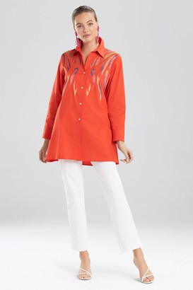 Natori Cotton Poplin Embroidered Tunic