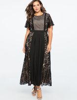 ELOQUII Pleated Mixed Lace Midi Dress