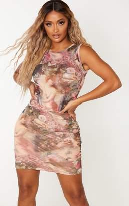 PrettyLittleThing Shape Nude Renaissance Print Bodycon Skirt