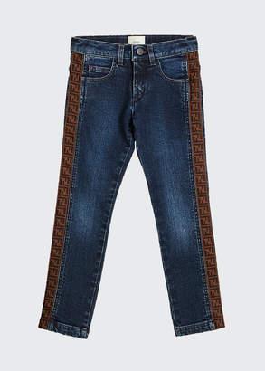Fendi Girl's Denim Jeans w/ Logo Tape Sides, Size 4-6