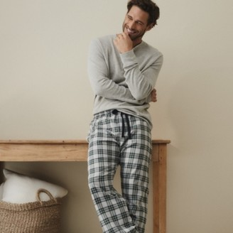 The White Company Men's Flannel Check Pyjama Bottoms, Green, Large