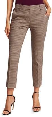 Theory Treeca Plaid Crop Stretch-Wool Trousers