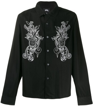 Stussy long-sleeved embroidered dragon shirt