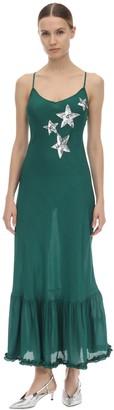 Rixo Odelia Embellished Satin Midi Dress