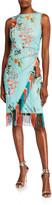 Fuzzi Floral Sleeveless Faux Wrap Fringe-Trim Dress