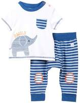 Boppy Baby Blues Smile Elephant Top & Striped Pants Set (Baby Boys)