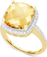Victoria Townsend Citrine (6 ct. t.w.) and White Diamond (1/10 ct. t.w.) Ring in 18k Gold over Sterling Silver or Sterling Silver