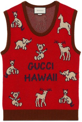 Gucci Hawaii wool cotton vest